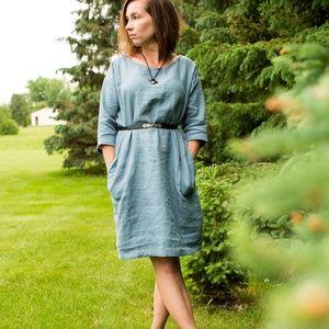 Dresses & Skirts - Blue linen smock dress